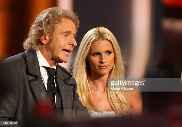 Host Thomas Gottschalk and Michelle Hunziker attend the Wetten dass show at the Messe Freiburg on October 3 2009 in Freiburg Germany
