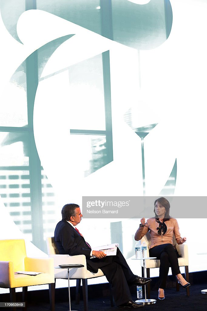 Host Thomas L. Friedman and Beth Comstock, CMO and Senior Vice President, GE speak during the Ideas at the Intersection of Design and Technology conversation at The New York Times Global Forum with Thomas L. Friedman at the Metreon on June 20, 2013 in San Francisco, California.