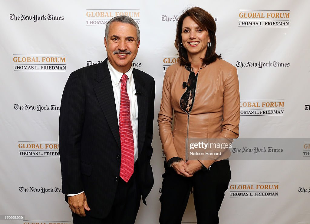 Host Thomas L. Friedman and Beth Comstock, CMO and Senior Vice President, GE attend The New York Times Global Forum with Thomas L. Friedman at the Metreon on June 20, 2013 in San Francisco, California.