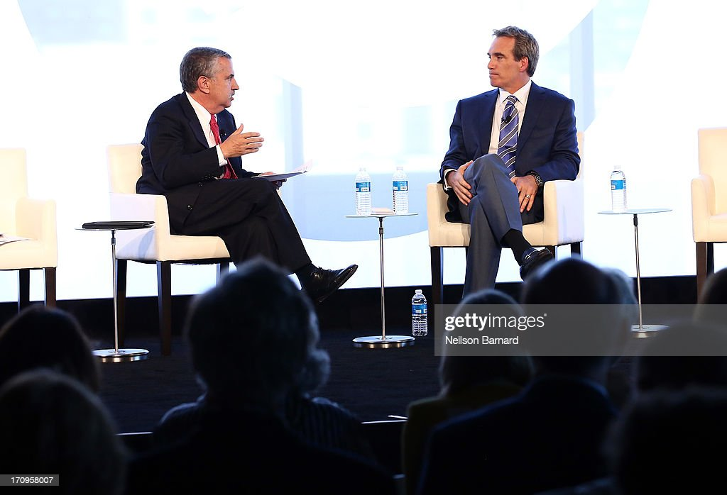 Host Thomas L. Friedman speaks with CEO of LRN, Dov Seidman during the How Do You Do Business in the Next New World conversation at The New York Times Global Forum with Thomas L. Friedman at the Metreon on June 20, 2013 in San Francisco, California.