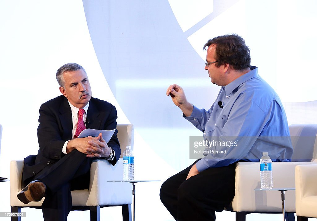 Host Thomas L. Friedman speaks with Co Founder and CEO of Linkedin, Reid Hoffman during the C.E.O. Conversation: The Value of Networking at The New York Times Global Forum with Thomas L. Friedman at the Metreon on June 20, 2013 in San Francisco, California.