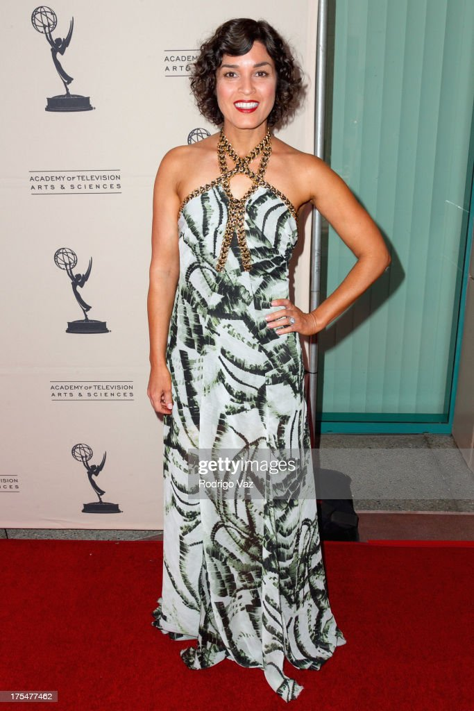 TV host Tina Malave arrives at the Academy of Television Arts & Sciences 65th Los Angeles Area Emmy Awards at Leonard H. Goldenson Theatre on August 3, 2013 in North Hollywood, California.