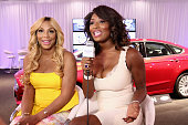 Host Toccara Jones and recording artist Tamar attend Hot Spot Room Day 2 during the 2013 BET Awards at LA LIVE on June 29 2013 in Los Angeles...