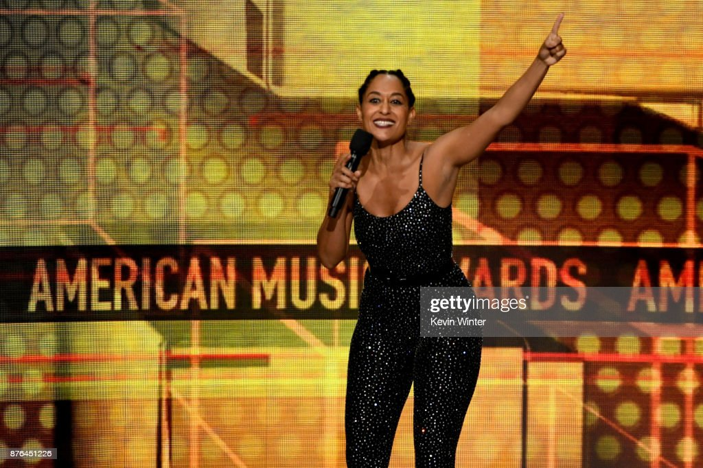 Host Tracee Ellis Ross speaks onstage during the 2017 American Music Awards at Microsoft Theater on November 19, 2017 in Los Angeles, California.