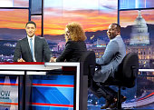 Host Trevor Noah of Comedy Central's 'The Daily Show comedian Michelle Wolf and actor and comedian Roy Wood Jr speak onstage with Trevor Noah at The...