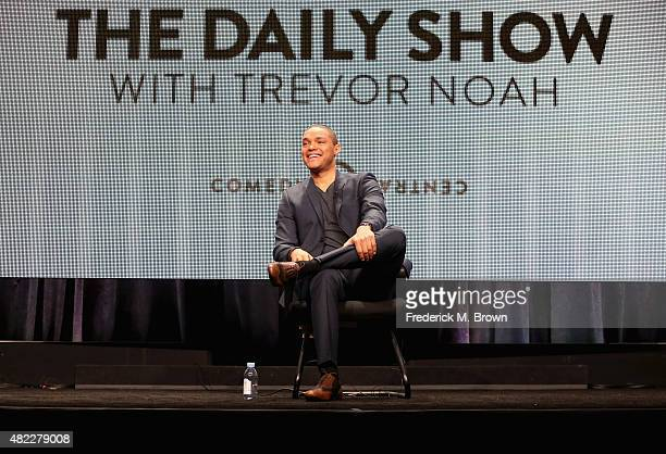 Host Trevor Noah speaks onstage during 'The Daily Show with Trevor Noah' panel discussion at the Viacom Networks portion of the 2015 Summer TCA Tour...