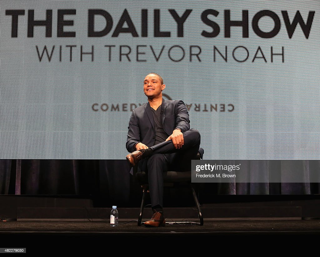 Host Trevor Noah speaks onstage during 'The Daily Show with Trevor Noah' panel discussion at the Viacom Networks portion of the 2015 Summer TCA Tour at The Beverly Hilton Hotel on July 29, 2015 in Beverly Hills, California.