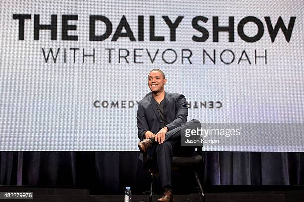 Host Trevor Noah speaks onstage during 'The Daily Show with Trevor Noah' panel at the Viacom TCA Presentation at The Beverly Hilton Hotel on July 29...