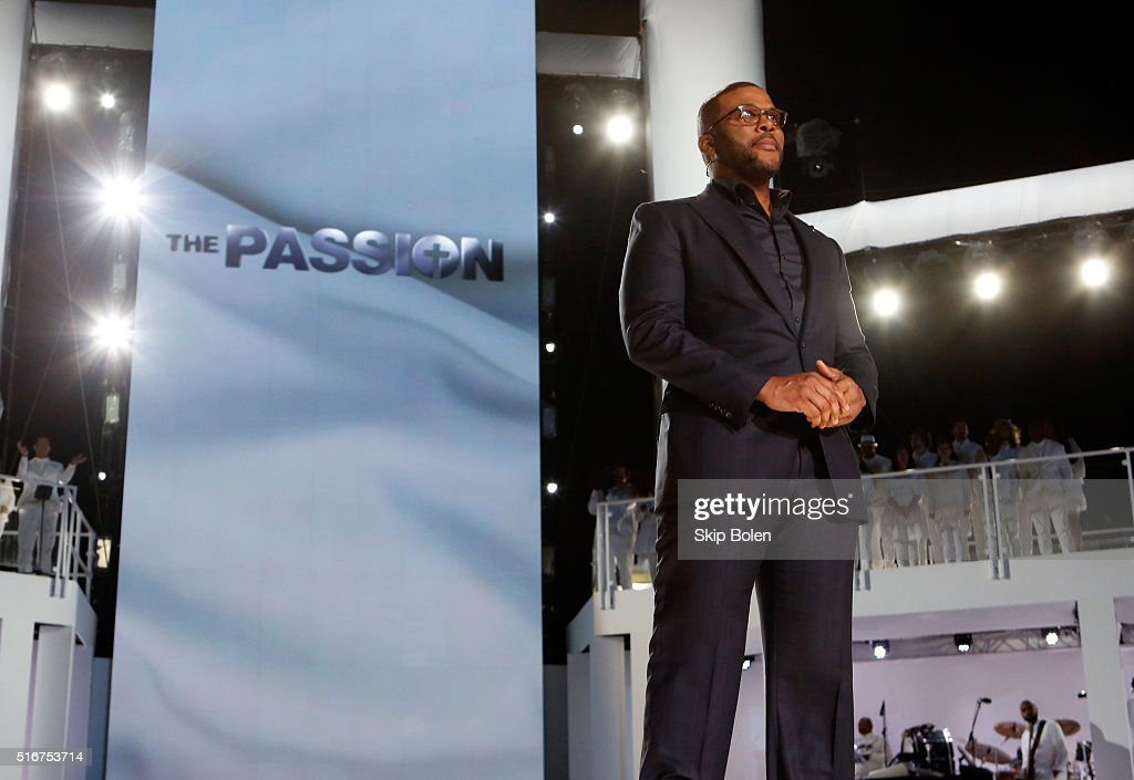 Host Tyler Perry appears in 'The Passion' an epic musical event airing LIVE from New Orleans on FOX at Woldenberg Park on March 20 2016 in New...