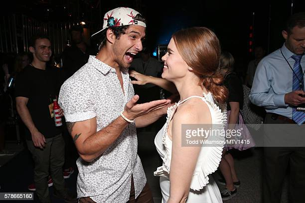 Host Tyler Posey and actress Holland Roden attend the MTV Fandom Awards San Diego at PETCO Park on July 21 2016 in San Diego California