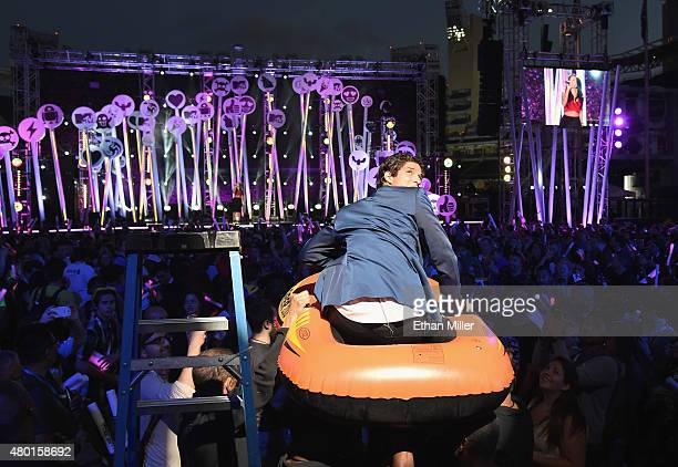 Host Tyler Posey onstage during the MTV Fandom Fest San Diego ComicCon at PETCO Park on July 9 2015 in San Diego California
