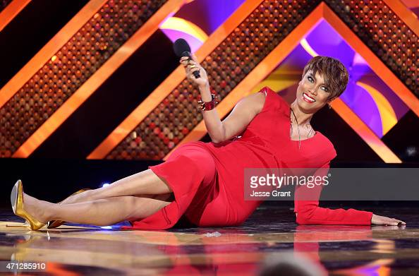 Host Tyra Banks onstage during The 42nd Annual Daytime Emmy Awards at Warner Bros Studios on April 26 2015 in Burbank California
