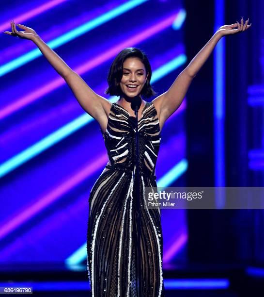 Host Vanessa Hudgens speaks onstage during the 2017 Billboard Music Awards at TMobile Arena on May 21 2017 in Las Vegas Nevada