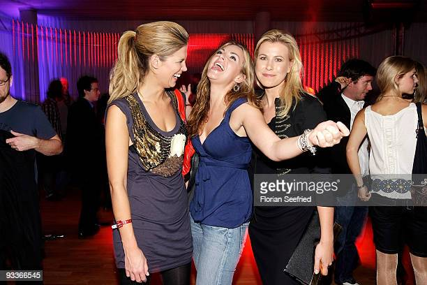 TV host Verena Wriedt and tv host Annika Kipp and tv host Nadine Krueger attend the afterparty for the premiere 'Zweiohrkueken' at Cafe Moskau on...