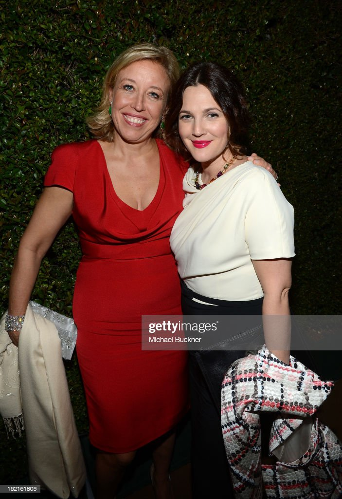 Host Veronica Bulgari (L) and actress <a gi-track='captionPersonalityLinkClicked' href=/galleries/search?phrase=Drew+Barrymore&family=editorial&specificpeople=201623 ng-click='$event.stopPropagation()'>Drew Barrymore</a> in BVLGARI attend the BVLGARI celebration of Elizabeth Taylor's collection of BVLGARI jewelry at BVLGARI Beverly Hills on February 19, 2013 in Los Angeles, California.