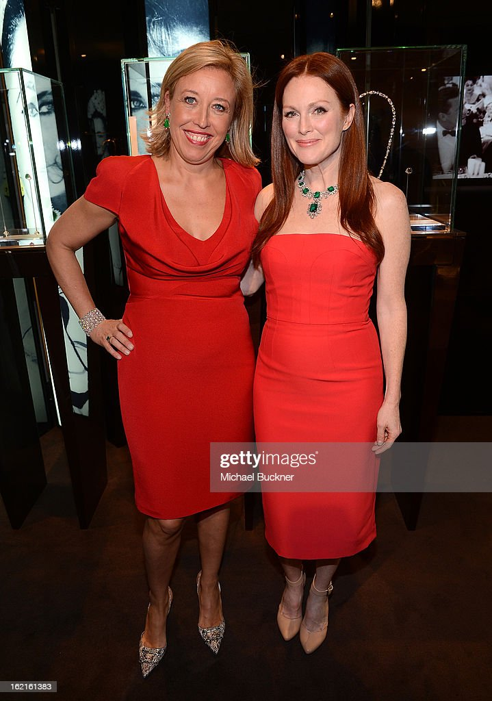 Host Veronica Bulgari (L) and actress <a gi-track='captionPersonalityLinkClicked' href=/galleries/search?phrase=Julianne+Moore&family=editorial&specificpeople=171555 ng-click='$event.stopPropagation()'>Julianne Moore</a> in BVLGARI attend the BVLGARI celebration of Elizabeth Taylor's collection of BVLGARI jewelry at BVLGARI Beverly Hills on February 19, 2013 in Los Angeles, California.