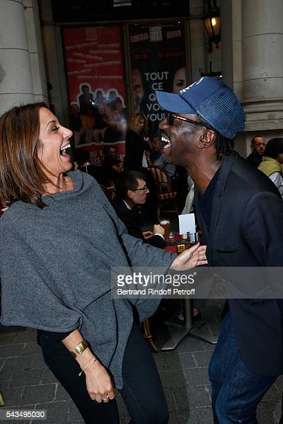 TV Host Virginie Guilhaume and Singer Marco Prince attend 'Du vent dans les branches de Sassafras' Theater Play Live on France 2 TV Chanel Held at...
