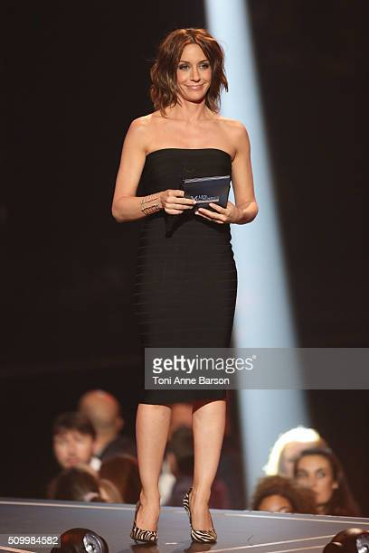 Host Virginie Guilhaume during 'Les Victoires De La Musique' at Le Zenith on February 12 2016 in Paris France