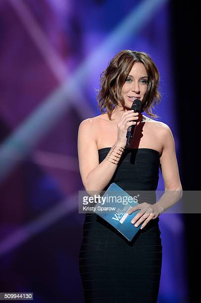 Host Virginie Guilhaume speaks onstage during the 31st 'Victoires de la Musique' French Music Awards Ceremony at Le Zenith on February 12 2016 in...