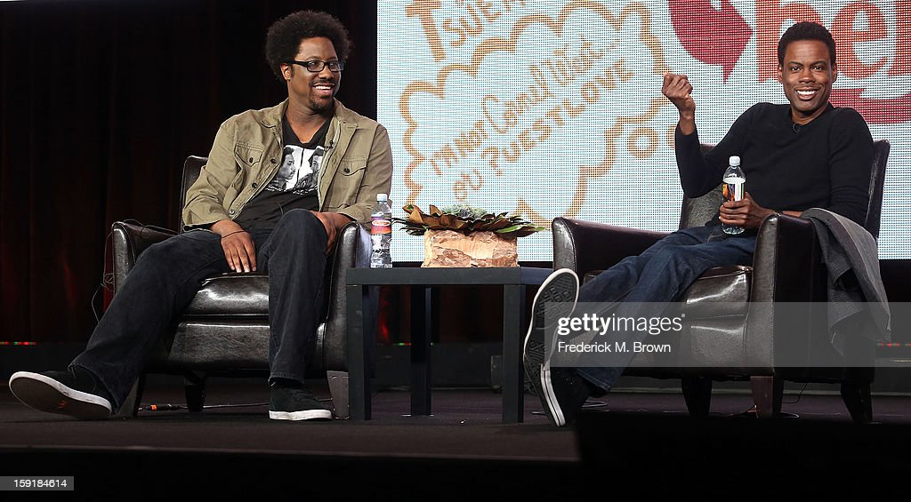 Host W. Kamau Bell (L) and executive producer Chris Rock of the television show 'Totally Biased with W. Kamau Bell' speak during the FX Networks portion of the 2013 Winter Television Critics Association Press Tour at the Langham Hotel and Spa on January 9, 2013 in Pasadena, California.