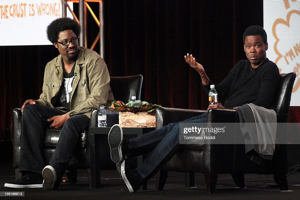 Host W. Kamau Bell (L) and executive producer <a gi-track='captionPersonalityLinkClicked' href=/galleries/search?phrase=Chris+Rock&family=editorial&specificpeople=202982 ng-click='$event.stopPropagation()'>Chris Rock</a> of the television show 'Totally Biased with W. Kamau Bell' attend the TCA 2013 Winter Press Tour - FX panels held at The Langham Huntington Hotel and Spa on January 9, 2013 in Pasadena, California.