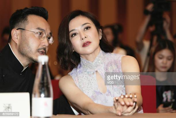 Host Wang Han and actress Rosamund Kwan attend the press conference of reality show 'Up Idol' on August 3 2017 in Foshan Guangdong Province of China
