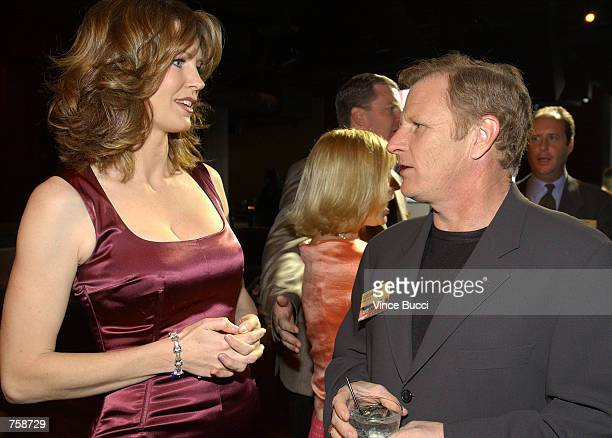 Host Wendy Walsh talks with actor Gordon Clapp at celebration of the oneyear anniversary of the cable television show 'Hollywood At Large' April 10...