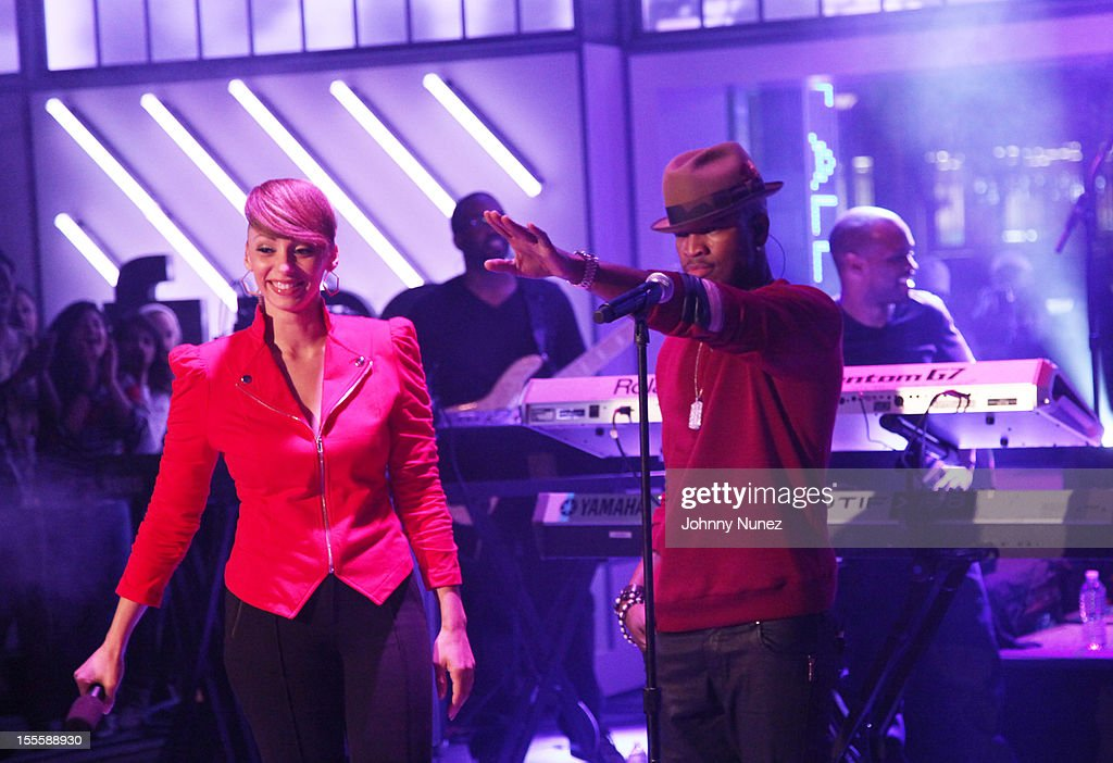 Host Yasmine Richard and recording artist <a gi-track='captionPersonalityLinkClicked' href=/galleries/search?phrase=Ne-Yo&family=editorial&specificpeople=451543 ng-click='$event.stopPropagation()'>Ne-Yo</a> attend fuse Studios on November 5, 2012 in New York City.