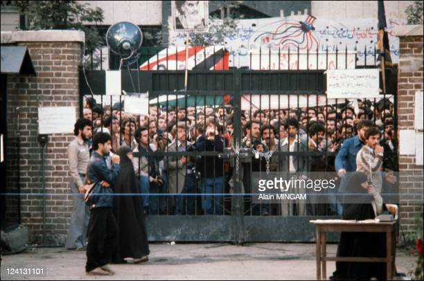 Hostage taking at the American Embassy and demonstration in Tehran Iran in November 1979