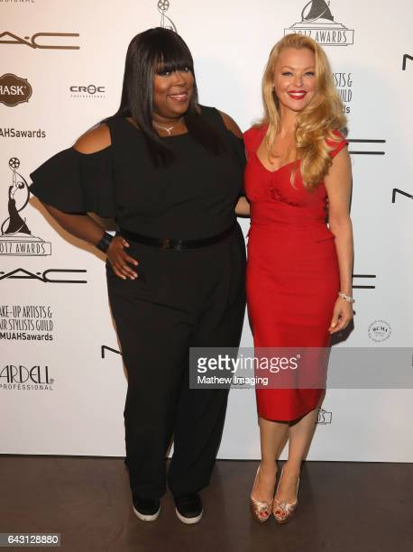 Host/comedian Loni Love and actor Charlotte Ross attend the 2017 MakeUp Artists and Hair Stylists Guild Awards at The Novo by Microsoft on February...