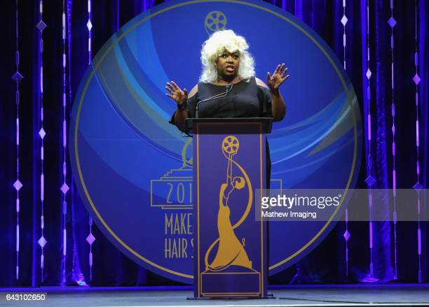 Host/comedian Loni Love speaks onstage at the 2017 MakeUp Artists and Hair Stylists Guild Awards at The Novo by Microsoft on February 19 2017 in Los...