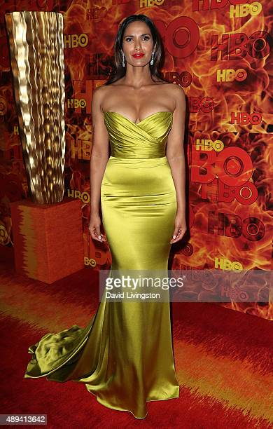 TV host/cookbook author Padma Lakshmi attends HBO's Official 2015 Emmy After Party at The Plaza at the Pacific Design Center on September 20 2015 in...