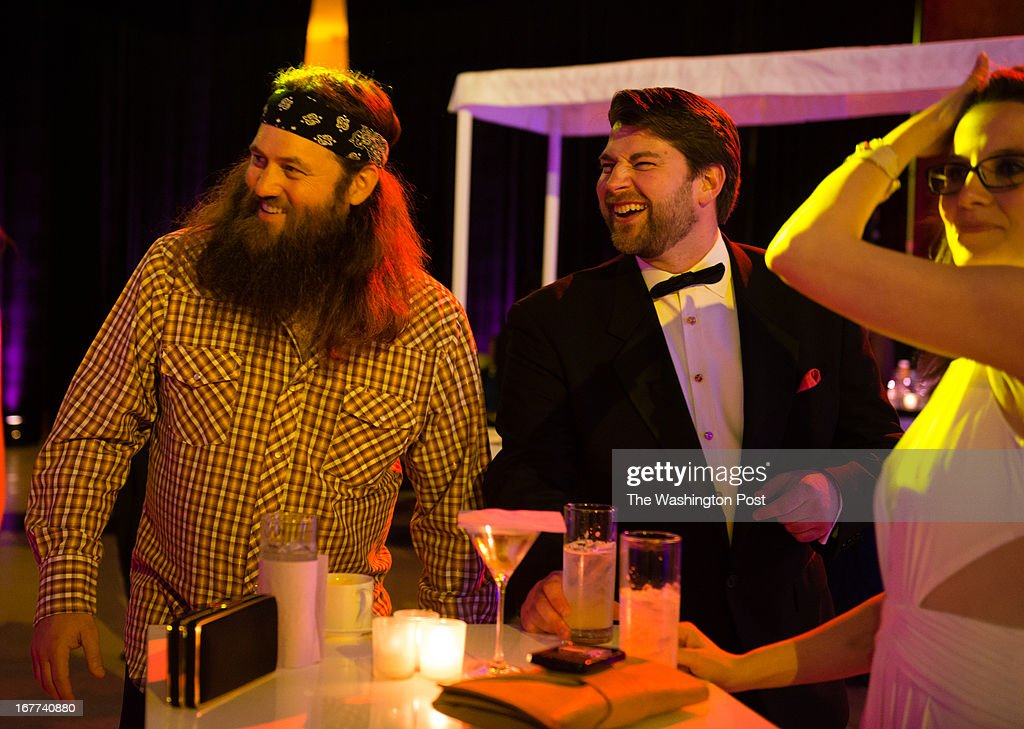 MSNBC hosted this after party following the White House Correspondents Dinner. Reality TV show actor Willie Robertson, of Duck Dynasty, left, is pictured at the party.