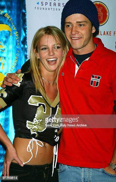 Hostess Britney Spears and host Justin Timberlake at SuperBowl Party at Planet Hollywood to raise funds for their charities
