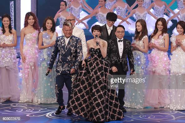 Hostess Carol Cheng performs onstage during the Miss Hong Kong Pageant ...