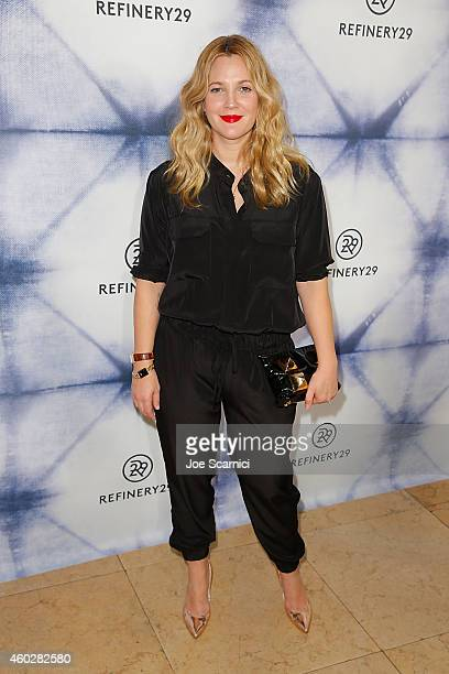 Hostess/actress Drew Barrymore arrives at Refinery29 Holiday Party at Sunset Tower Hotel on December 10 2014 in West Hollywood California