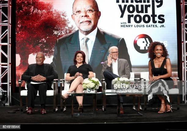 Host/executive producer Henry Louis Gates Jr political commentator Ana Navarro actor Ted Danson and author Janet Mock of 'Finding Your Roots' speak...