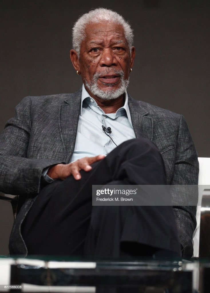 Host/executive producer Morgan Freeman of 'The Story of Us with Morgan Freeman' speaks onstage during the National Geographic Channels portion of the 2017 Summer Television Critics Association Press Tour at The Beverly Hilton Hotel on July 25, 2017 in Beverly Hills, California.