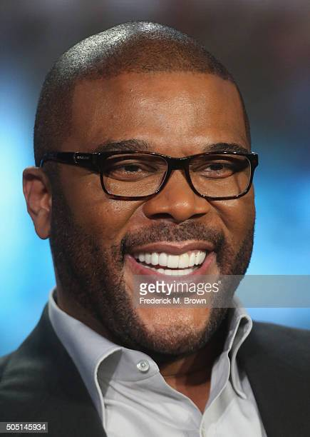 Host/Narrator Tyler Perry speaks onstage during 'The Passion' panel discussion at the FOX portion of the 2015 Winter TCA Tour at the Langham...