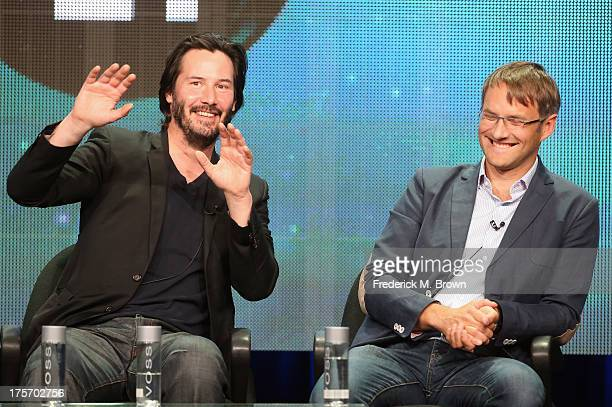 Host/producer Keanu Reeves and producer Justin Szlasa speak onstage during the 'Side by Side' panel at the PBS portion of the 2013 Summer Television...