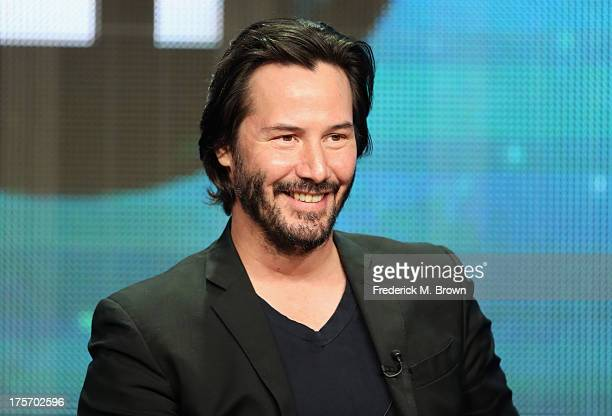 Host/producer Keanu Reeves speaks onstage during the 'Side by Side' panel at the PBS portion of the 2013 Summer Television Critics Association tour...