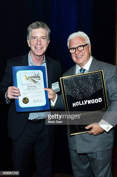 TV host/producer Tom Bergeron and 'Commitment to California' award recipient TV producer Vin Di Bona attend The Hollywood Chamber Of Commerce's 3rd...