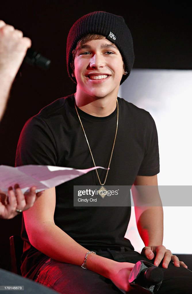 Z100 hosts a live chat and performance with singer <a gi-track='captionPersonalityLinkClicked' href=/galleries/search?phrase=Austin+Mahone&family=editorial&specificpeople=9429678 ng-click='$event.stopPropagation()'>Austin Mahone</a> to celebrate the world premiere of his new single, 'What About Love,' at the iHeartRadio Theater presented by P.C. Richard & Son on June 7, 2013 in New York City.