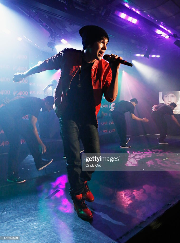 Z100 hosts a live chat and performance with singer Austin Mahone to celebrate the world premiere of his new single, 'What About Love,' at the iHeartRadio Theater presented by P.C. Richard & Son on June 7, 2013 in New York City.