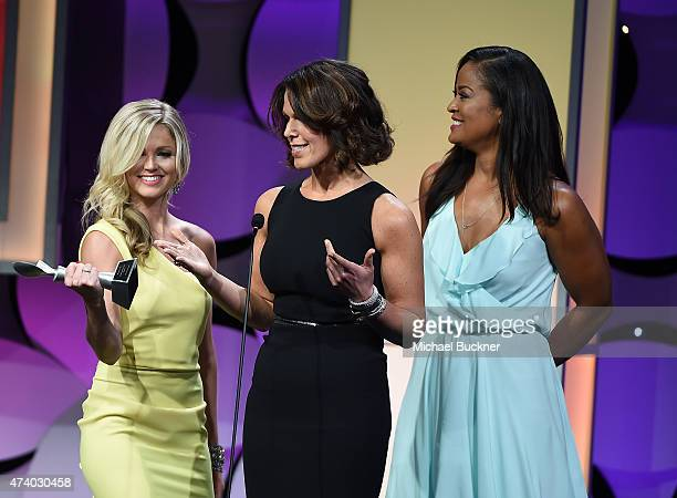 TV hosts Allie LaForce Dana Jacobson and Laila Ali attend the 40th Anniversary Gracies Awards at The Beverly Hilton Hotel on May 19 2015 in Beverly...