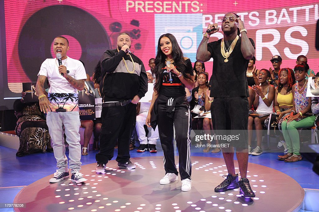 Hosts Angela Simmons and Bow Wow with Ace Hood and DJ Khaled at BET's 106 & Park at BET Studios on July 17, 2013 in New York City.