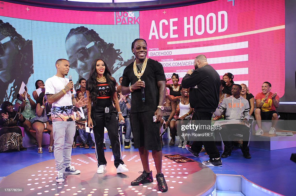 Hosts Angela Simmons and Bow Wow with Ace Hood at BET's 106 & Park at BET Studios on July 17, 2013 in New York City.