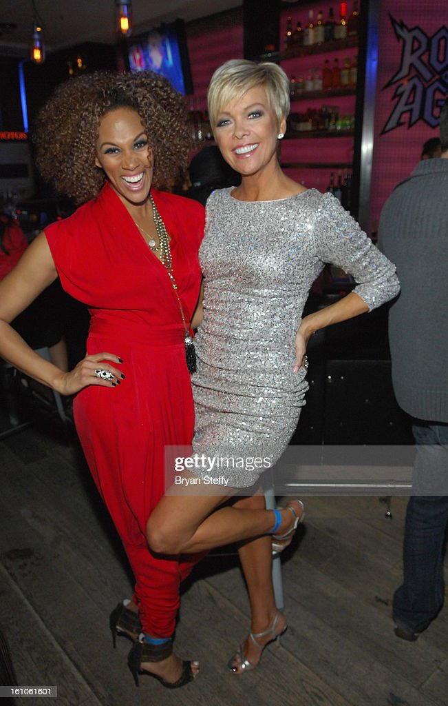 HSN hosts Anji Corley (L) and Callie Northagen appear at the HSN Live