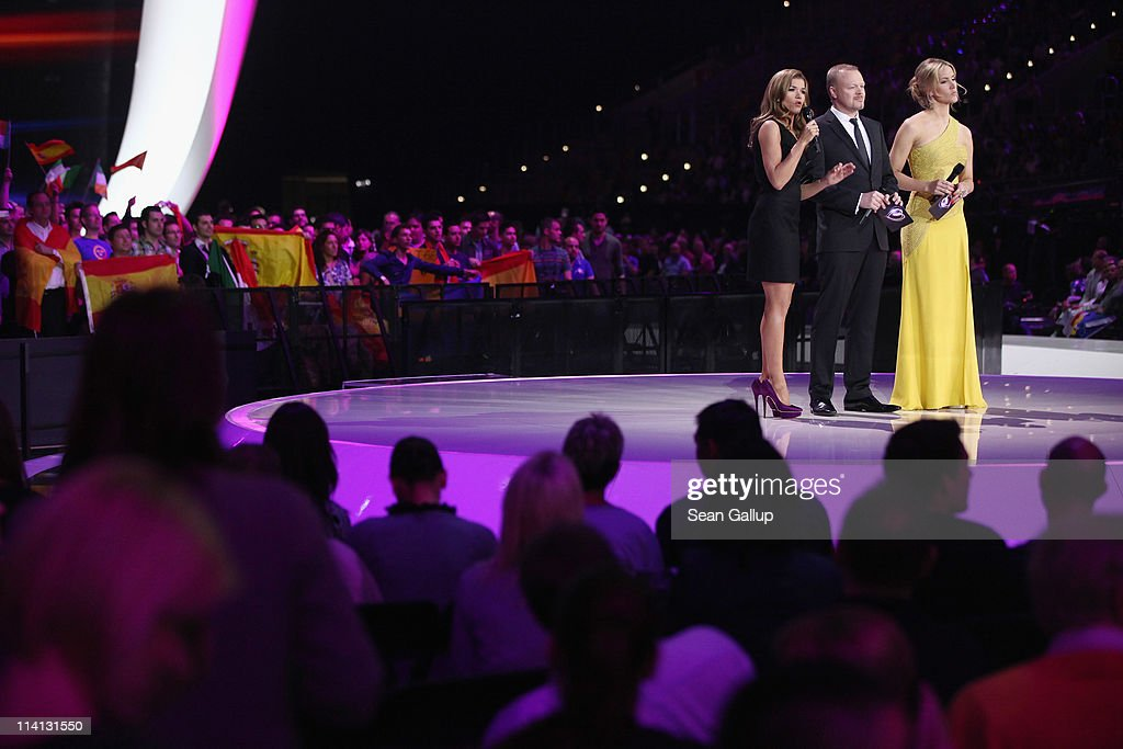 Hosts Anke Engelke, Stefan Raab and Judith Rakers lead the second semi-finals of the Eurovision Song Contest 2011 on May 12, 2011 in Duesseldorf, Germany.