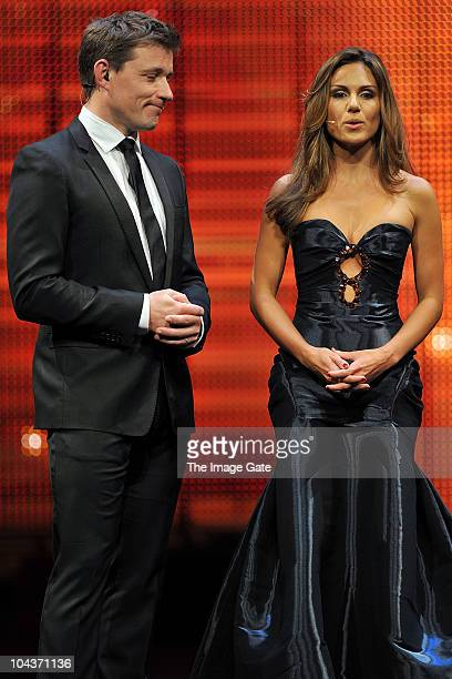 Hosts Ben Shephard and Nazan Eckes talk during the 50th Rose d'Or Television Festival Award Ceremony on September 22 2010 in Lucerne Switzerland